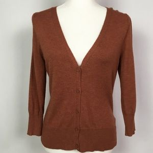 Mossimo V-Neck Rust Brown Cardigan